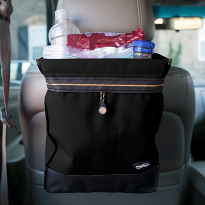 HIGH ROAD<sup>&reg;</sup> Auto Litterbag - Keep your vehicle clean with this leakproof, large-capacity litterbag.  Easily attaches around the headrest with a quick release buckle.  Hook and loop closures keep trash out of sight until it's time to empty the bag.