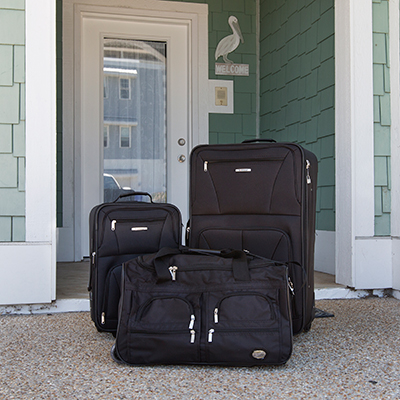 "ROCKLAND<sup>&reg;</sup> 3-Piece Luggage Set - This durable, 3-piece expandable luggage set includes two expandable uprights and a 22"" rolling bag.  All feature in-line skate wheel system, internally stored retractable handle system, ergonomic and comfortable padded top and side grip handles.  28"" upright measures 28"" H x 18"" W x 12"" expandable to 14"" deep.  19"" carry-on upright measures 19"" H x 13"" W x 8"" expandable to 10"" deep.  Rolling bag measures 26"" L x 14"" W x 17"" H."
