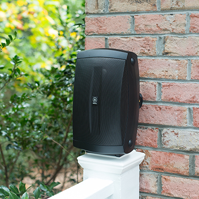 "YAMAHA<sup>&reg;</sup> All-Weather Outdoor Speakers - Listen to your favorite tunes rain or shine, indoors or outdoors with this all-weather speaker set.  Includes two speakers with 6.5"" high-compliance, polypropylene, mica-filled woofer and 1"" PEI dome tweeter, wide frequency response and 130W maximum power input.  Wall mounting bracket included for vertical or horizontal placement as well as tabletop base."